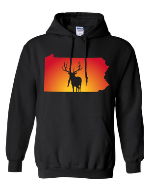 Pullover Hooded Sweatshirt Pennsylvania Black Elk Vibrant Design High Quality Tight Knit Ring Spun Low Maintenance Cotton Printed With The Newest Available Color Transfer Technology