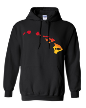 Load image into Gallery viewer, Pullover Hooded Sweatshirt Hawaii Black Large Mouth Bass Vibrant Design High Quality Tight Knit Ring Spun Low Maintenance Cotton Printed With The Newest Available Color Transfer Technology