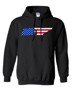 Pullover Hooded Sweatshirt Tennessee Black Whitetail Deer Vibrant Design High Quality Tight Knit Ring Spun Low Maintenance Cotton Printed With The Newest Available Color Transfer Technology