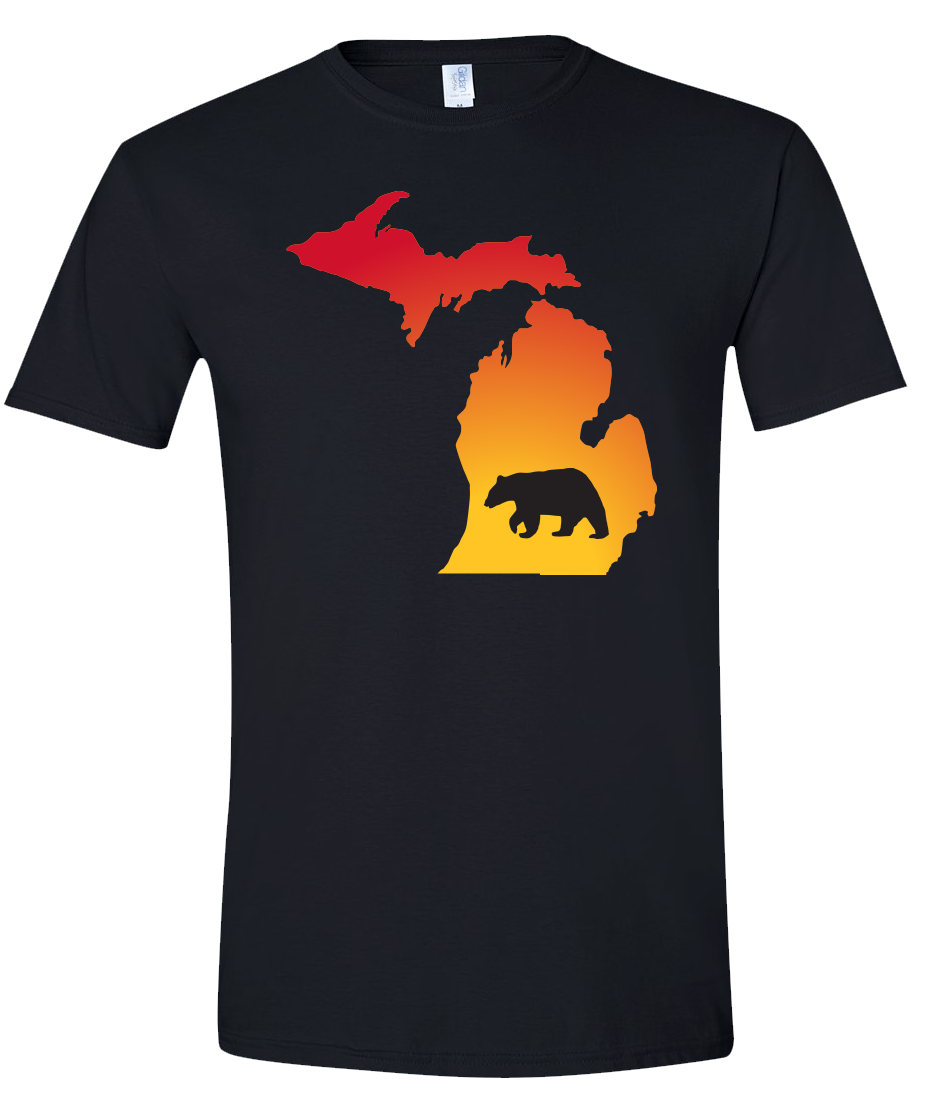 Short Sleeve T-Shirt Michigan Black Black Bear Vibrant Design High Quality Tight Knit Ring Spun Low Maintenance Cotton Printed With The Newest Available Color Transfer Technology