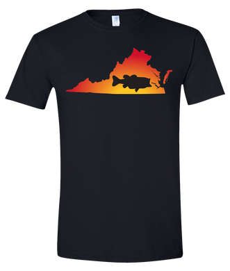 Short Sleeve T-Shirt Virginia Black Large Mouth Bass Vibrant Design High Quality Tight Knit Ring Spun Low Maintenance Cotton Printed With The Newest Available Color Transfer Technology