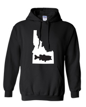 Load image into Gallery viewer, Pullover Hooded Sweatshirt Idaho Black Large Mouth Bass Vibrant Design High Quality Tight Knit Ring Spun Low Maintenance Cotton Printed With The Newest Available Color Transfer Technology