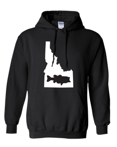 Pullover Hooded Sweatshirt Idaho Black Large Mouth Bass Vibrant Design High Quality Tight Knit Ring Spun Low Maintenance Cotton Printed With The Newest Available Color Transfer Technology