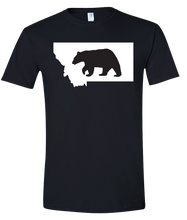Load image into Gallery viewer, Short Sleeve T-Shirt Montana Black Black Bear Vibrant Design High Quality Tight Knit Ring Spun Low Maintenance Cotton Printed With The Newest Available Color Transfer Technology