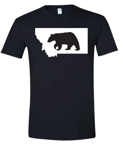 Short Sleeve T-Shirt Montana Black Black Bear Vibrant Design High Quality Tight Knit Ring Spun Low Maintenance Cotton Printed With The Newest Available Color Transfer Technology