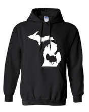 Load image into Gallery viewer, Pullover Hooded Sweatshirt Michigan Black Turkey Vibrant Design High Quality Tight Knit Ring Spun Low Maintenance Cotton Printed With The Newest Available Color Transfer Technology