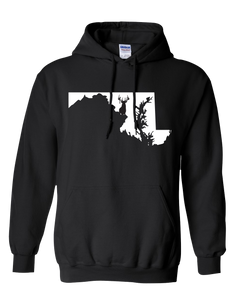 Pullover Hooded Sweatshirt Maryland Black Whitetail Deer Vibrant Design High Quality Tight Knit Ring Spun Low Maintenance Cotton Printed With The Newest Available Color Transfer Technology
