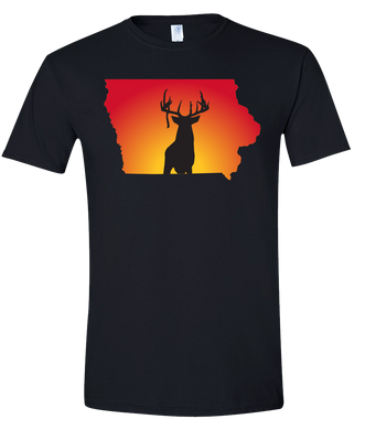 Short Sleeve T-Shirt Iowa Black Whitetail Deer Vibrant Design High Quality Tight Knit Ring Spun Low Maintenance Cotton Printed With The Newest Available Color Transfer Technology