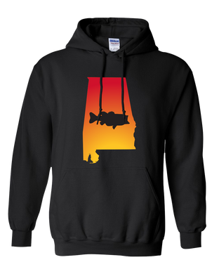 Pullover Hooded Sweatshirt Alabama Black Large Mouth Bass Vibrant Design High Quality Tight Knit Ring Spun Low Maintenance Cotton Printed With The Newest Available Color Transfer Technology