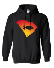 Load image into Gallery viewer, Pullover Hooded Sweatshirt South Carolina Black Large Mouth Bass Vibrant Design High Quality Tight Knit Ring Spun Low Maintenance Cotton Printed With The Newest Available Color Transfer Technology