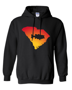 Pullover Hooded Sweatshirt South Carolina Black Large Mouth Bass Vibrant Design High Quality Tight Knit Ring Spun Low Maintenance Cotton Printed With The Newest Available Color Transfer Technology