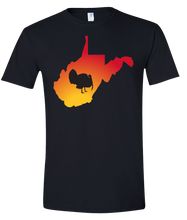 Load image into Gallery viewer, Short Sleeve T-Shirt West Virginia Black Turkey Vibrant Design High Quality Tight Knit Ring Spun Low Maintenance Cotton Printed With The Newest Available Color Transfer Technology