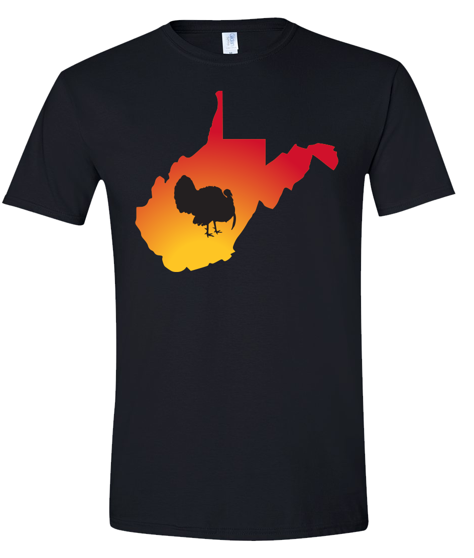 Short Sleeve T-Shirt West Virginia Black Turkey Vibrant Design High Quality Tight Knit Ring Spun Low Maintenance Cotton Printed With The Newest Available Color Transfer Technology