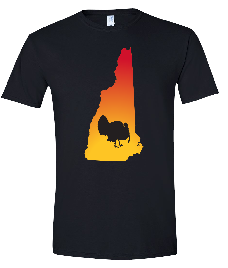 Short Sleeve T-Shirt New Hampshire Black Turkey Vibrant Design High Quality Tight Knit Ring Spun Low Maintenance Cotton Printed With The Newest Available Color Transfer Technology