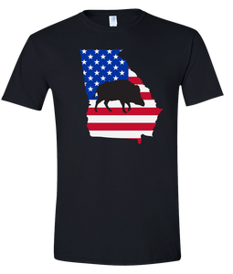 Short Sleeve T-Shirt Georgia Black Wild Hog Vibrant Design High Quality Tight Knit Ring Spun Low Maintenance Cotton Printed With The Newest Available Color Transfer Technology