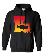Load image into Gallery viewer, Pullover Hooded Sweatshirt Louisiana Black Large Mouth Bass Vibrant Design High Quality Tight Knit Ring Spun Low Maintenance Cotton Printed With The Newest Available Color Transfer Technology