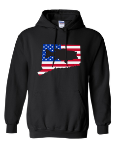 Pullover Hooded Sweatshirt Connecticut Black Large Mouth Bass Vibrant Design High Quality Tight Knit Ring Spun Low Maintenance Cotton Printed With The Newest Available Color Transfer Technology