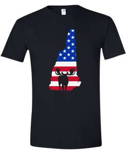 Short Sleeve T-Shirt New Hampshire Black Moose Vibrant Design High Quality Tight Knit Ring Spun Low Maintenance Cotton Printed With The Newest Available Color Transfer Technology