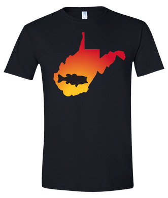 Short Sleeve T-Shirt West Virginia Black Large Mouth Bass Vibrant Design High Quality Tight Knit Ring Spun Low Maintenance Cotton Printed With The Newest Available Color Transfer Technology