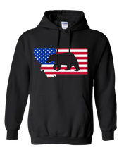 Load image into Gallery viewer, Pullover Hooded Sweatshirt Montana Black Black Bear Vibrant Design High Quality Tight Knit Ring Spun Low Maintenance Cotton Printed With The Newest Available Color Transfer Technology