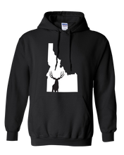 Load image into Gallery viewer, Pullover Hooded Sweatshirt Idaho Black Mule Deer Vibrant Design High Quality Tight Knit Ring Spun Low Maintenance Cotton Printed With The Newest Available Color Transfer Technology