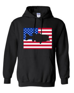 Pullover Hooded Sweatshirt Colorado Black Large Mouth Bass Vibrant Design High Quality Tight Knit Ring Spun Low Maintenance Cotton Printed With The Newest Available Color Transfer Technology