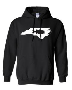 Pullover Hooded Sweatshirt North Carolina Black Large Mouth Bass Vibrant Design High Quality Tight Knit Ring Spun Low Maintenance Cotton Printed With The Newest Available Color Transfer Technology