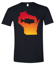 Load image into Gallery viewer, Short Sleeve T-Shirt Wisconsin Black Large Mouth Bass Vibrant Design High Quality Tight Knit Ring Spun Low Maintenance Cotton Printed With The Newest Available Color Transfer Technology