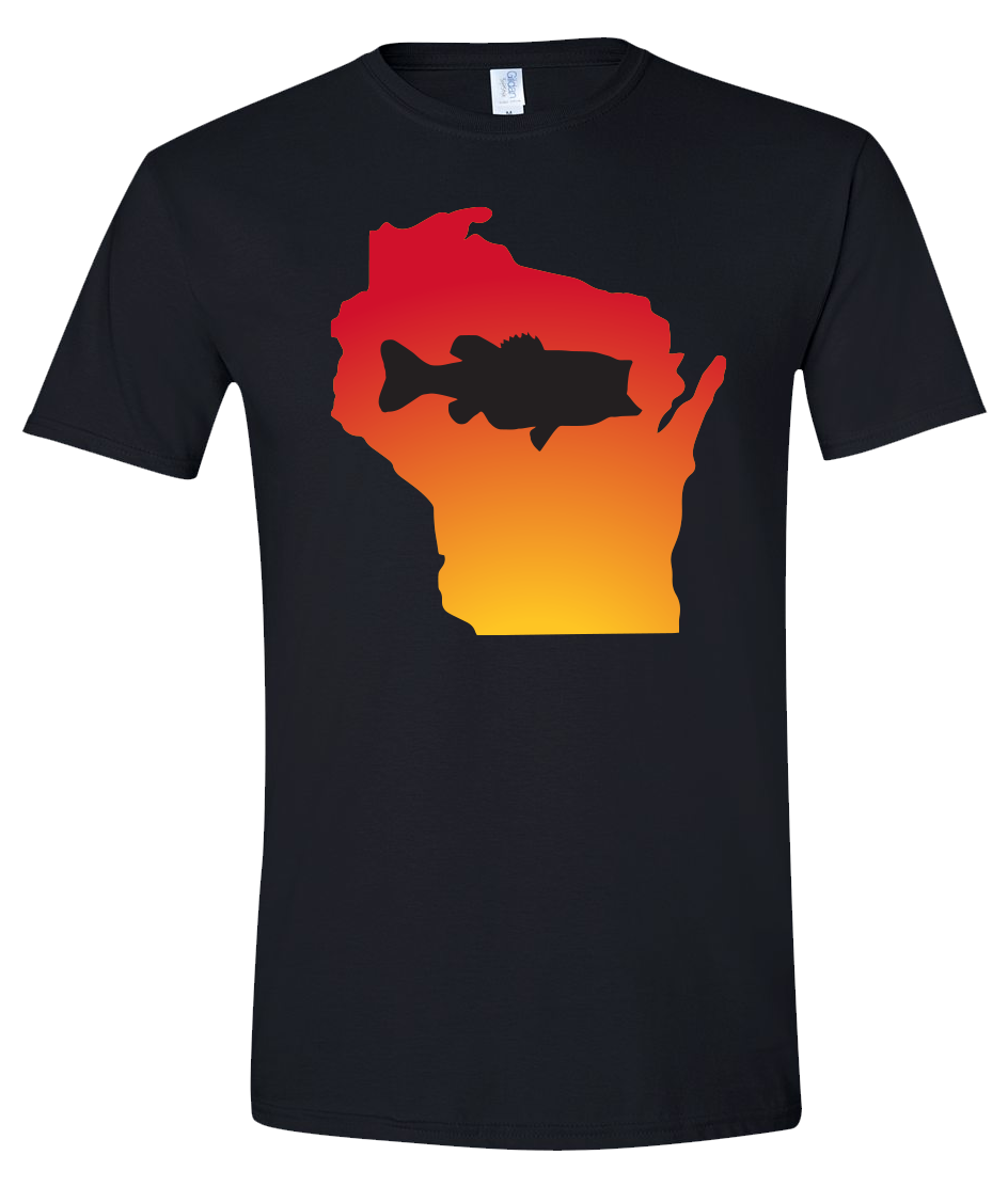 Short Sleeve T-Shirt Wisconsin Black Large Mouth Bass Vibrant Design High Quality Tight Knit Ring Spun Low Maintenance Cotton Printed With The Newest Available Color Transfer Technology