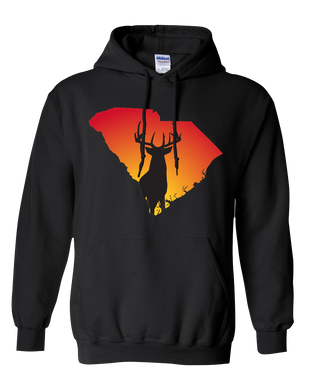 Pullover Hooded Sweatshirt South Carolina Black Whitetail Deer Vibrant Design High Quality Tight Knit Ring Spun Low Maintenance Cotton Printed With The Newest Available Color Transfer Technology