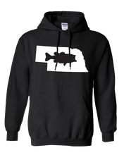 Load image into Gallery viewer, Pullover Hooded Sweatshirt Nebraska Black Large Mouth Bass Vibrant Design High Quality Tight Knit Ring Spun Low Maintenance Cotton Printed With The Newest Available Color Transfer Technology
