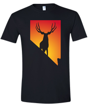 Load image into Gallery viewer, Short Sleeve T-Shirt Nevada Black Mule Deer Vibrant Design High Quality Tight Knit Ring Spun Low Maintenance Cotton Printed With The Newest Available Color Transfer Technology
