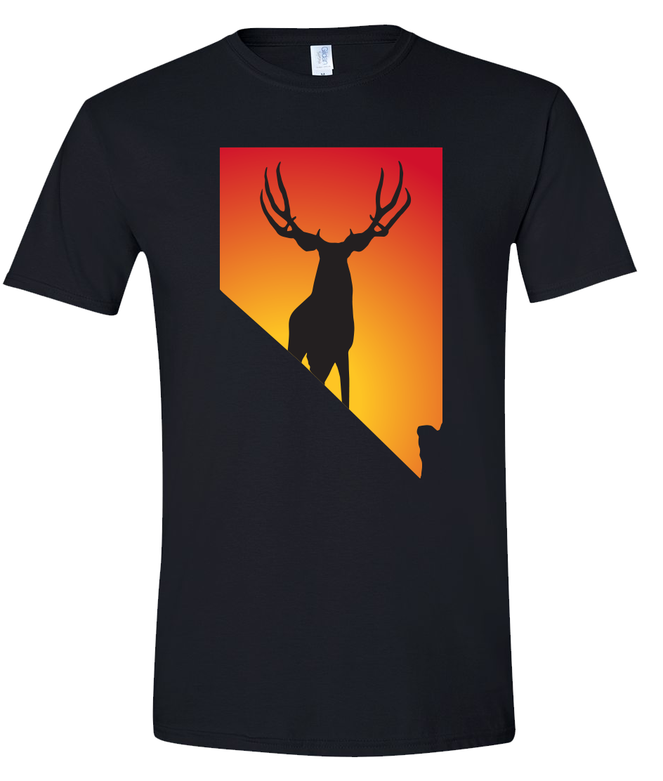 Short Sleeve T-Shirt Nevada Black Mule Deer Vibrant Design High Quality Tight Knit Ring Spun Low Maintenance Cotton Printed With The Newest Available Color Transfer Technology