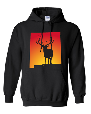 Pullover Hooded Sweatshirt New Mexico Black Elk Vibrant Design High Quality Tight Knit Ring Spun Low Maintenance Cotton Printed With The Newest Available Color Transfer Technology