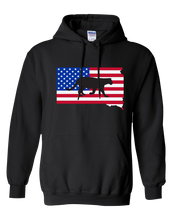 Load image into Gallery viewer, Pullover Hooded Sweatshirt South Dakota Black Mountain Lion Vibrant Design High Quality Tight Knit Ring Spun Low Maintenance Cotton Printed With The Newest Available Color Transfer Technology