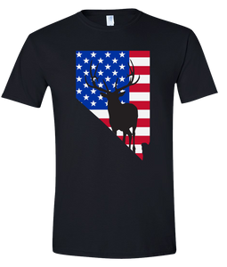 Short Sleeve T-Shirt Nevada Black Elk Vibrant Design High Quality Tight Knit Ring Spun Low Maintenance Cotton Printed With The Newest Available Color Transfer Technology