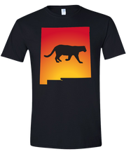 Load image into Gallery viewer, Short Sleeve T-Shirt New Mexico Black Mountain Lion Vibrant Design High Quality Tight Knit Ring Spun Low Maintenance Cotton Printed With The Newest Available Color Transfer Technology
