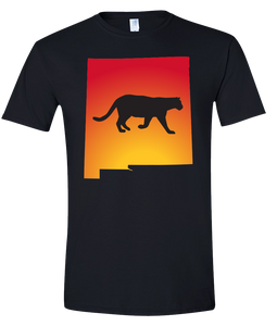 Short Sleeve T-Shirt New Mexico Black Mountain Lion Vibrant Design High Quality Tight Knit Ring Spun Low Maintenance Cotton Printed With The Newest Available Color Transfer Technology