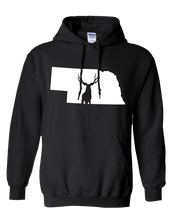 Load image into Gallery viewer, Pullover Hooded Sweatshirt Nebraska Black Mule Deer Vibrant Design High Quality Tight Knit Ring Spun Low Maintenance Cotton Printed With The Newest Available Color Transfer Technology