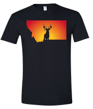 Load image into Gallery viewer, Short Sleeve T-Shirt Montana Black Whitetail Deer Vibrant Design High Quality Tight Knit Ring Spun Low Maintenance Cotton Printed With The Newest Available Color Transfer Technology
