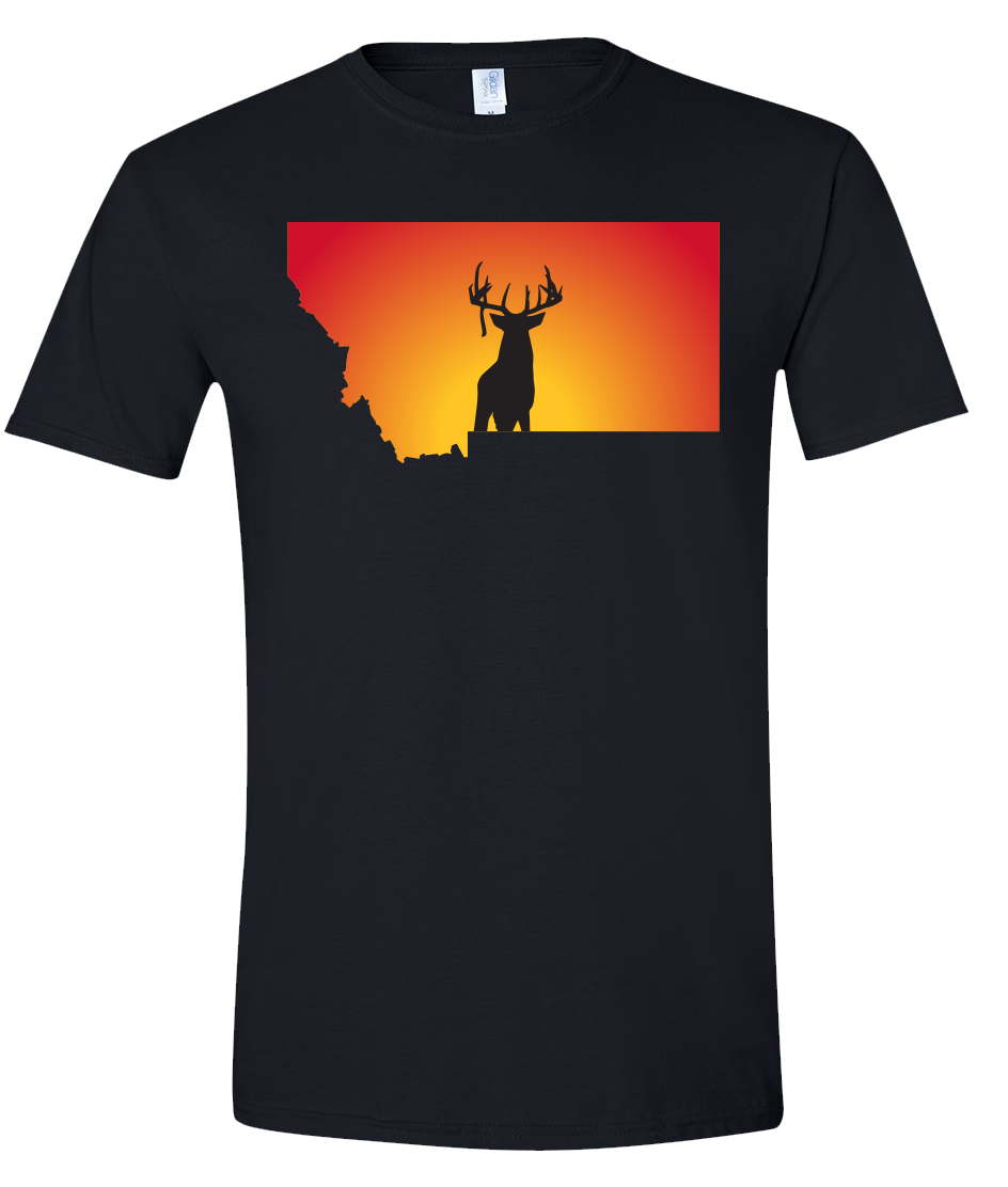 Short Sleeve T-Shirt Montana Black Whitetail Deer Vibrant Design High Quality Tight Knit Ring Spun Low Maintenance Cotton Printed With The Newest Available Color Transfer Technology