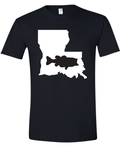 Short Sleeve T-Shirt Louisiana Black Large Mouth Bass Vibrant Design High Quality Tight Knit Ring Spun Low Maintenance Cotton Printed With The Newest Available Color Transfer Technology
