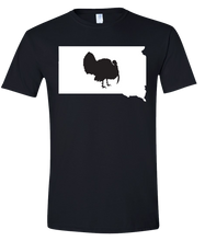 Load image into Gallery viewer, Short Sleeve T-Shirt South Dakota Black Turkey Vibrant Design High Quality Tight Knit Ring Spun Low Maintenance Cotton Printed With The Newest Available Color Transfer Technology