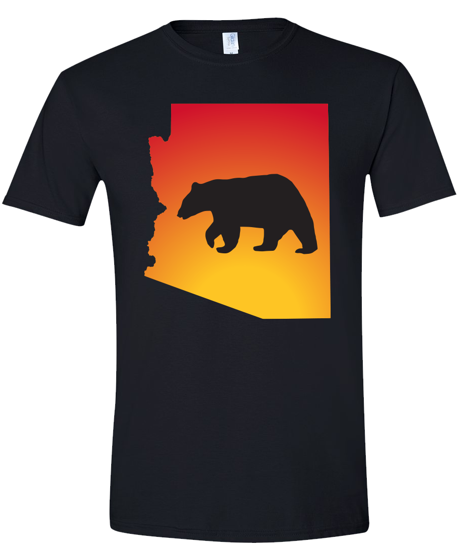 Short Sleeve T-Shirt Arizona Black Black Bear Vibrant Design High Quality Tight Knit Ring Spun Low Maintenance Cotton Printed With The Newest Available Color Transfer Technology