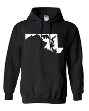 Load image into Gallery viewer, Pullover Hooded Sweatshirt Maryland Black Black Bear Vibrant Design High Quality Tight Knit Ring Spun Low Maintenance Cotton Printed With The Newest Available Color Transfer Technology