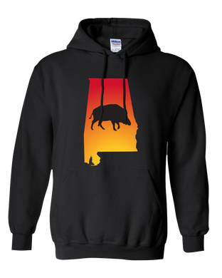 Pullover Hooded Sweatshirt Alabama Black Wild Hog Vibrant Design High Quality Tight Knit Ring Spun Low Maintenance Cotton Printed With The Newest Available Color Transfer Technology