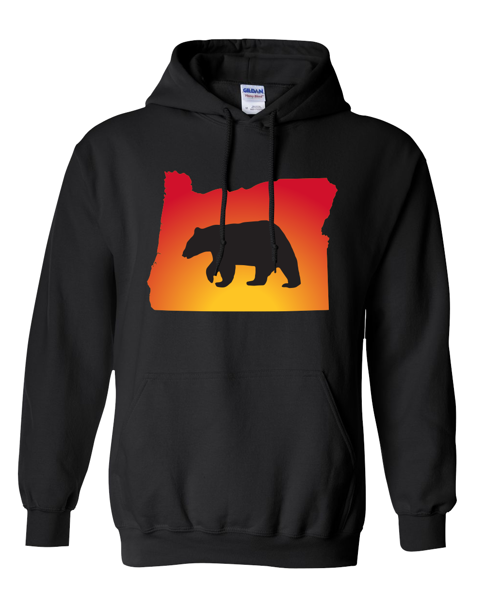 Pullover Hooded Sweatshirt Oregon Black Black Bear Vibrant Design High Quality Tight Knit Ring Spun Low Maintenance Cotton Printed With The Newest Available Color Transfer Technology