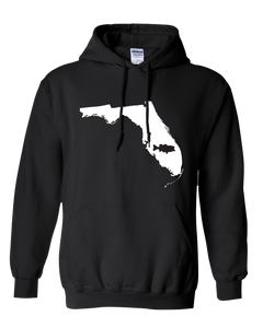 Pullover Hooded Sweatshirt Florida Black Large Mouth Bass Vibrant Design High Quality Tight Knit Ring Spun Low Maintenance Cotton Printed With The Newest Available Color Transfer Technology