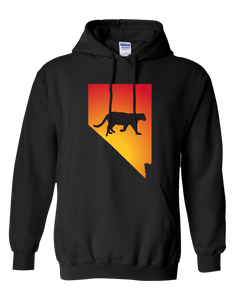 Pullover Hooded Sweatshirt Nevada Black Mountain Lion Vibrant Design High Quality Tight Knit Ring Spun Low Maintenance Cotton Printed With The Newest Available Color Transfer Technology