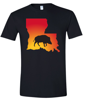 Short Sleeve T-Shirt Louisiana Black Wild Hog Vibrant Design High Quality Tight Knit Ring Spun Low Maintenance Cotton Printed With The Newest Available Color Transfer Technology